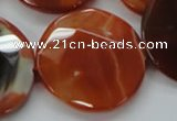 CAA307 15.5 inches 34mm faceted coin red line agate beads