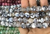 CAA3071 15 inches 10mm faceted round fire crackle agate beads wholesale
