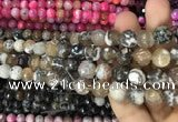 CAA3083 15 inches 10mm faceted round fire crackle agate beads wholesale