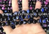 CAA3092 15 inches 10mm faceted round fire crackle agate beads wholesale