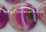 CAA311 15.5 inches 34mm flat round fuchsia line agate beads