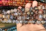 CAA3130 15 inches 12mm faceted round fire crackle agate beads wholesale