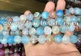 CAA3131 15 inches 12mm faceted round fire crackle agate beads wholesale
