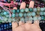 CAA3132 15 inches 12mm faceted round fire crackle agate beads wholesale