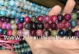 CAA3135 15 inches 12mm faceted round fire crackle agate beads wholesale