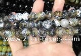 CAA3136 15 inches 12mm faceted round fire crackle agate beads wholesale