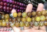 CAA3138 15 inches 12mm faceted round fire crackle agate beads wholesale
