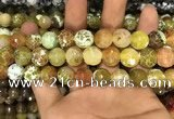 CAA3143 15 inches 12mm faceted round fire crackle agate beads wholesale