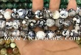 CAA3144 15 inches 12mm faceted round fire crackle agate beads wholesale
