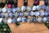 CAA3145 15 inches 12mm faceted round fire crackle agate beads wholesale