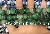 CAA3146 15 inches 12mm faceted round fire crackle agate beads wholesale