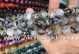 CAA3151 15 inches 12mm faceted round fire crackle agate beads wholesale