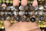 CAA3152 15 inches 12mm faceted round fire crackle agate beads wholesale