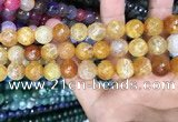 CAA3153 15 inches 12mm faceted round fire crackle agate beads wholesale
