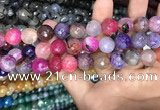 CAA3156 15 inches 12mm faceted round fire crackle agate beads wholesale