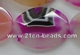 CAA316 15.5 inches 30*40mm faceted oval fuchsia line agate beads