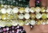 CAA3180 15 inches 14mm faceted round fire crackle agate beads wholesale