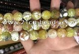 CAA3181 15 inches 14mm faceted round fire crackle agate beads wholesale