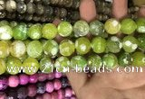 CAA3182 15 inches 14mm faceted round fire crackle agate beads wholesale