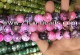 CAA3185 15 inches 14mm faceted round fire crackle agate beads wholesale
