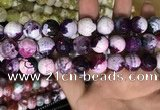 CAA3186 15 inches 14mm faceted round fire crackle agate beads wholesale