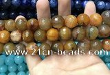 CAA3194 15 inches 14mm faceted round fire crackle agate beads wholesale