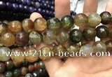 CAA3199 15 inches 14mm faceted round fire crackle agate beads wholesale