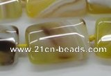 CAA322 15.5 inches 22*32mm rectangle yellow line agate beads