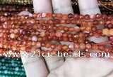 CAA3252 15 inches 4mm faceted round line agate beads wholesale