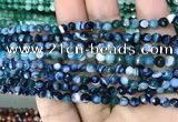 CAA3254 15 inches 4mm faceted round line agate beads wholesale