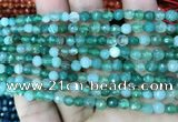 CAA3255 15 inches 4mm faceted round line agate beads wholesale