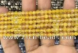 CAA3276 15 inches 4mm faceted round agate beads wholesale