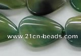 CAA331 15.5 inches 22*28mm flat teardrop green line agate beads