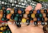 CAA3383 15 inches 10mm faceted round agate beads wholesale