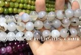 CAA3420 15 inches 14mm faceted round agate beads wholesale