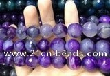 CAA3424 15 inches 14mm faceted round agate beads wholesale