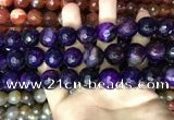 CAA3446 15 inches 16mm faceted round agate beads wholesale
