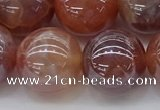 CAA3505 15.5 inches 14mm round AB-color fire agate beads wholesale