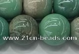 CAA3520 15.5 inches 14mm round AB-color grass agate beads wholesale