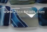CAA353 15.5 inches 22*30mm faceted rectangle blue line agate beads