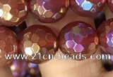 CAA3551 15.5 inches 10mm faceted round AB-color red agate beads