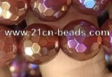 CAA3552 15.5 inches 12mm faceted round AB-color red agate beads
