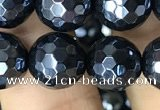 CAA3557 15.5 inches 10mm faceted round AB-color black agate beads