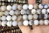 CAA3590 15.5 inches 12mm round matte ocean fossil agate beads