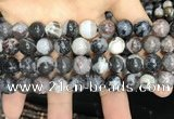 CAA3594 15.5 inches 10mm round black zebra agate beads wholesale