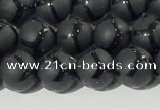 CAA3655 15.5 inches 6mm round matte & carved black agate beads