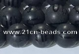 CAA3661 15.5 inches 8mm round matte & carved black agate beads