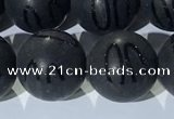CAA3663 15.5 inches 12mm round matte & carved black agate beads