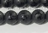 CAA3675 15.5 inches 6mm round matte & carved black agate beads