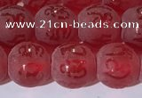 CAA3687 15.5 inches 8mm round matte & carved red agate beads